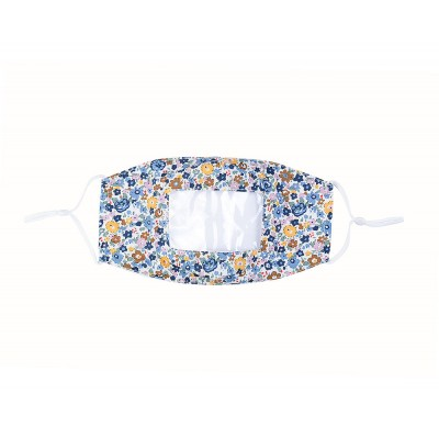 Clear Panel Mask - Small Flowers (Blue)