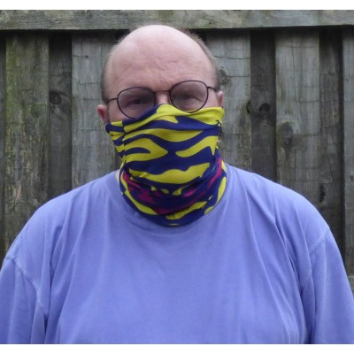 Stretch Snood - Waves (Navy / Yellow / Magenta)