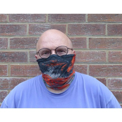 Stretch Snood - Grunge (Charcoal / Orange)