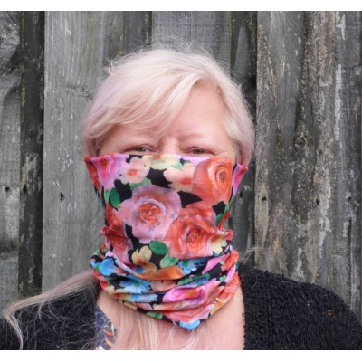 Stretch Snood - Mixed Blooms (Black / Multicoloured)