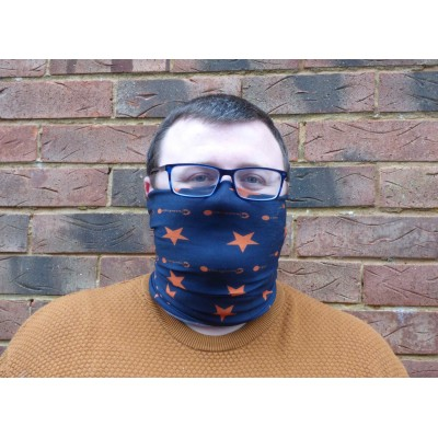 Stretch Snood - Stars (Navy / Orange)