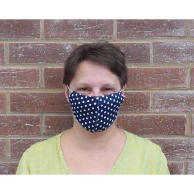 Adjustable Filter Mask - Polka Dots LS (Navy / White)