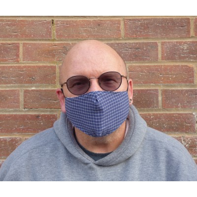 Two Layer Mask - Blue Check