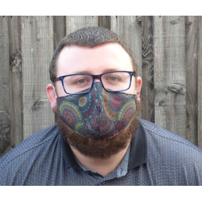 Two Layer Mask - Dark Retro Circles (Blue / Green)