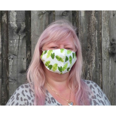 Two Layer Mask - Green Leaves (White)
