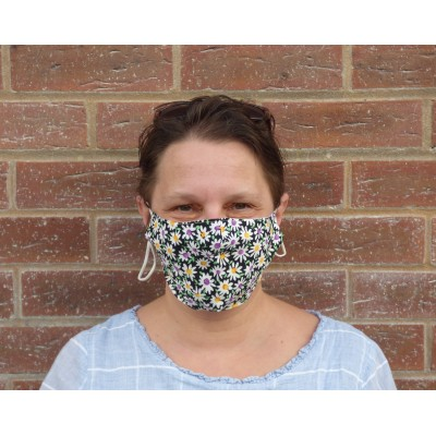 Two Layer Mask - Mixed Daisies (Black)