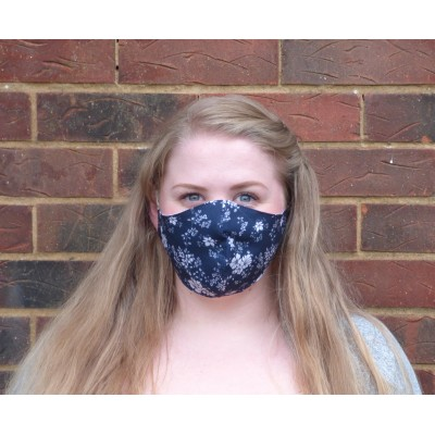 Two Layer Mask - Floral (Navy)