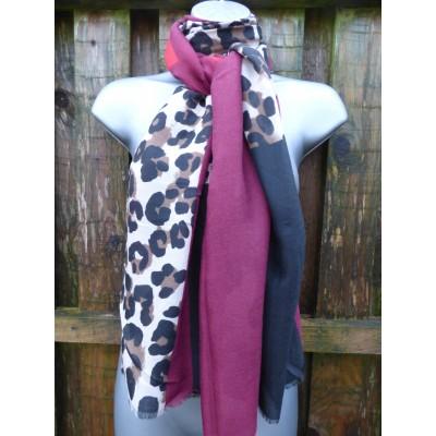 Colour Block Leopard 9162 (Black / Burgundy / Red)
