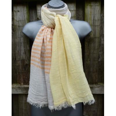 Cotton Stripes 1611 (Ecru / Lemon / Apricot)