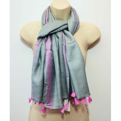 Tasselled Pink Trimmed Grey SH3054