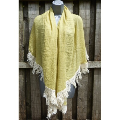 Semi Circular Fringed Shrug (Deep Lime)