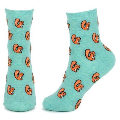 Socks (4-7) - Red Squirrels (Mint)