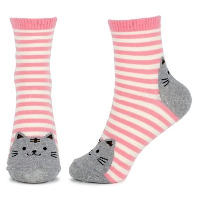 Socks (4-7) - Stripy Cat Toes (Pink)