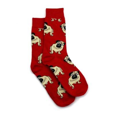 Socks (4-9) - Pugs FJ01 (Red)