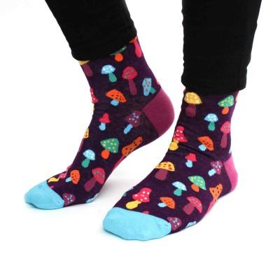 Socks (4-9) - Toadstools FJ06 (Deep Purple)