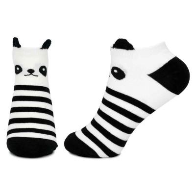 Ankle Socks (4-7) - Striped Panda (Black / White)