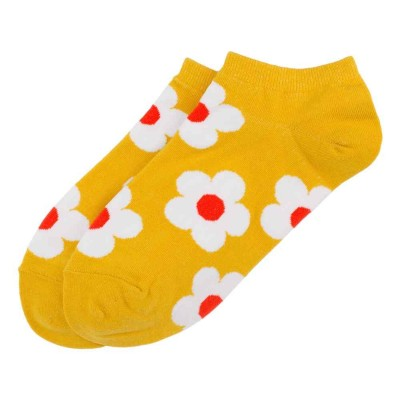 Ankle Socks (4-7) - Retro Floral (Yellow)