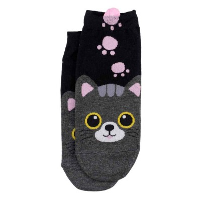 Ankle Socks (4-7) - Black Cat