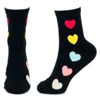 Socks (4-7) - Bright Hearts (Black)