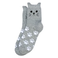 Socks (4-7) - Cat Face & Paws (Light Grey)
