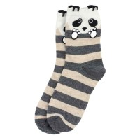 Socks (4-7) - Striped Pandas (Grey / Cream)