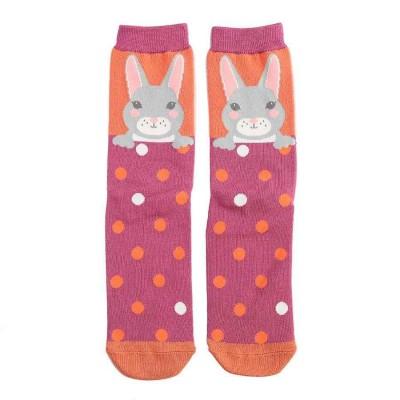 Socks (4-7) - Bunnies - SKS187 - (Pink / Orange)