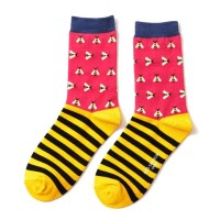 Socks (4-7) - Busy Bees Stripes - SKS169 (Hot Pink)