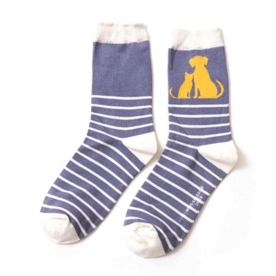 Socks (4-7) - Cat & Dog Stripes - SKS170 - (Denim)