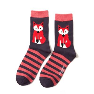 Socks (4-7) - Fox and Stripes - SKS178 (French Navy)