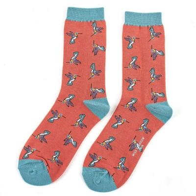 Socks (4-7) - Hummingbirds-SKS144- Orange