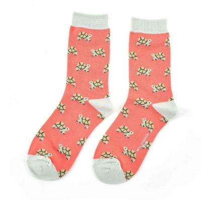 Socks (4-7) - Turtles - SKS155 (Coral)