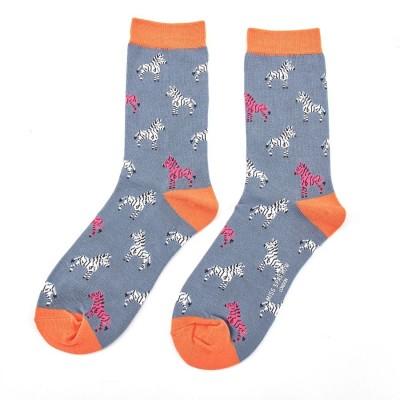 Socks (4-7) - Zebras-SKS156 - Blue