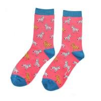 Socks (4-7) - Zebras-SKS156 - Hot Pink