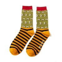 Socks (7-11) - Busy Bees Stripes - MH143 (Olive)