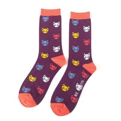 Socks (7-11) - Kitty Faces - MH139 - Purple