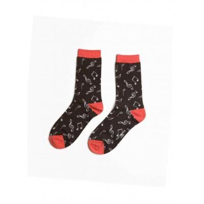Socks (4-7) - Musical Notes-18089 - Black
