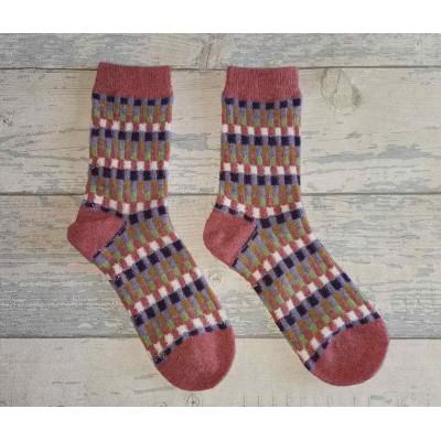 Socks (4-7) - Pink Block Socks - SK811