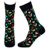 Socks (4-7) - Tulips (Black)