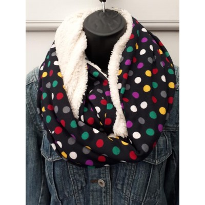 Fleece Lined Spotty Snood (French Navy)