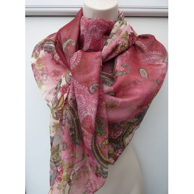 Silk Mix Paisley Square (Wine)