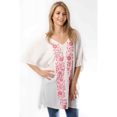 SCU Embroidered White / Pink (8305)
