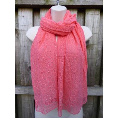 Diamante Lace Floral Special Occasion Wrap 1567 (Coral)