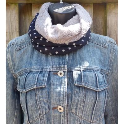 Close Fit Fleece Lined Mini Hearts Snood (Navy / Grey)
