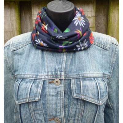 Close Fit Floral Snood M3800 (French Navy)