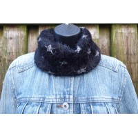 Close Fit Fluffy Silver Star Snood
