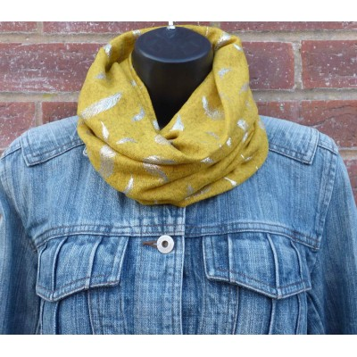 Close Fit Silver Feathers Snood (Mustard)