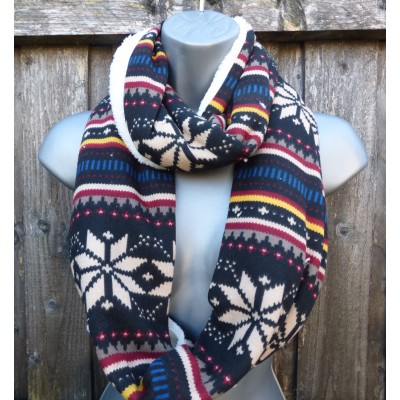 Fleece Lined Snowflake Snood (Black / Yellow / Red)