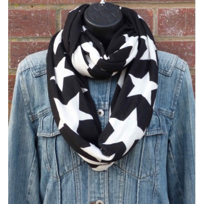 Full Length Large Stars Snood (Black / White) (N)
