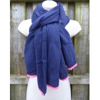 Italian Wool Blend Neon Trim (Navy / Pink)