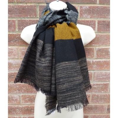 Wool Block Stripes (Black / Mustard)